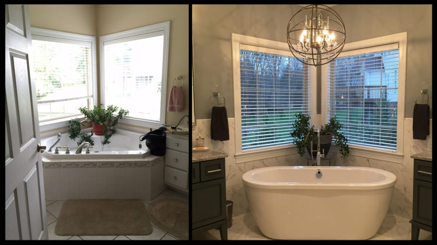 free standing garden tub. The Garden Tub  Left Was The First Thing To Go Creating Additional Space WV Design Team Gray And White Bathroom Update Is Clean Contemporary