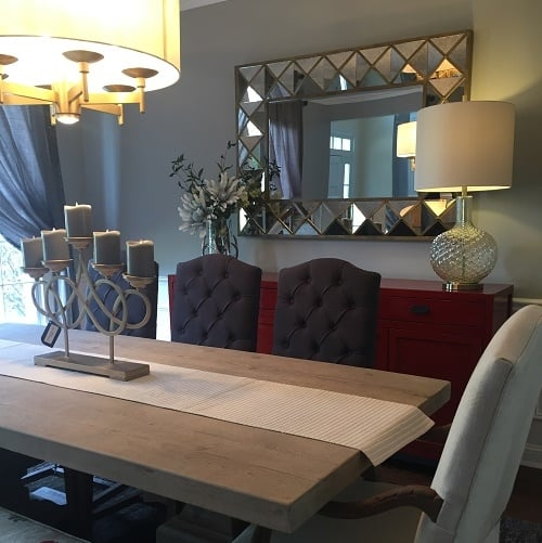 This Cozy And Upscale Dining Room Features Warm Tones Of Linen, Slate,  Gold, Red And Cobalt. Mixing Wood Tones And Painted Pieces Helps This Room  Feel ...
