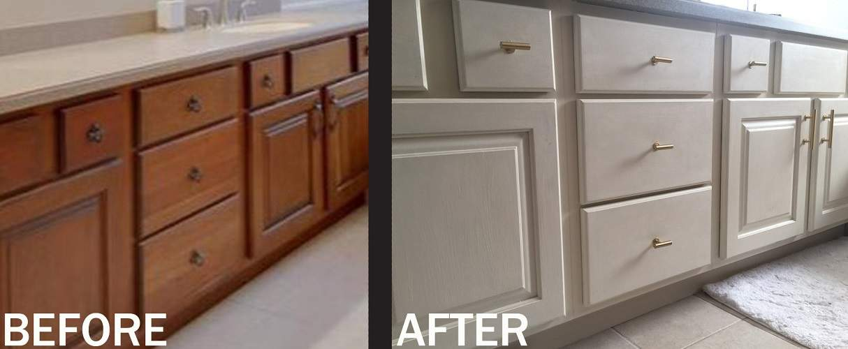A couple coats of Old White Chalk Paint by Annie Sloan, and this vanity is  transformed into a light and bright beautiful row of cabinetry.